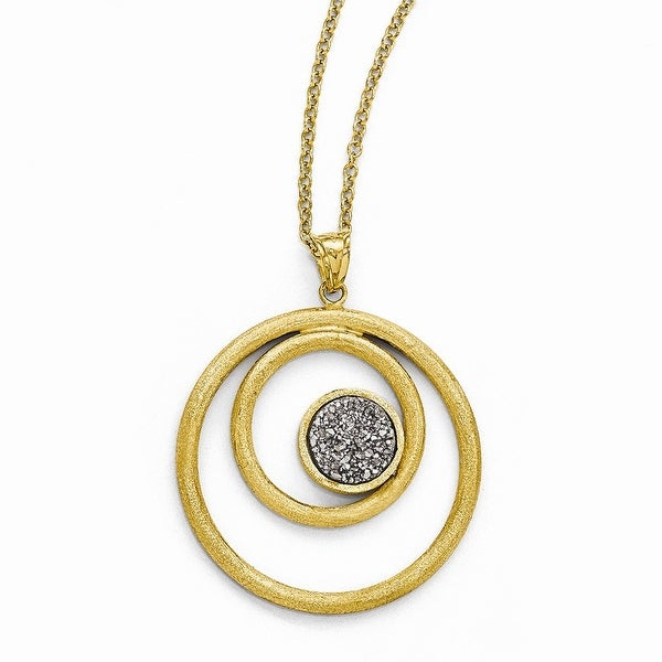 Italian 14k Gold Round Pendant with Grey Druzy Necklace - 17 inches