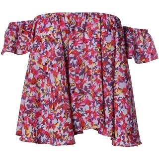 Aqua Womens Juniors Chiffon Floral Print Blouse