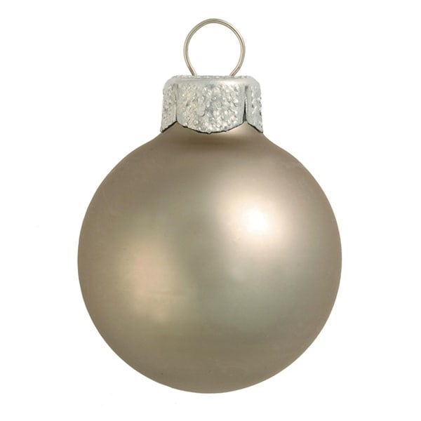"""6ct Matte Pewter Gray Glass Ball Christmas Ornaments 4"""" (100mm)"""