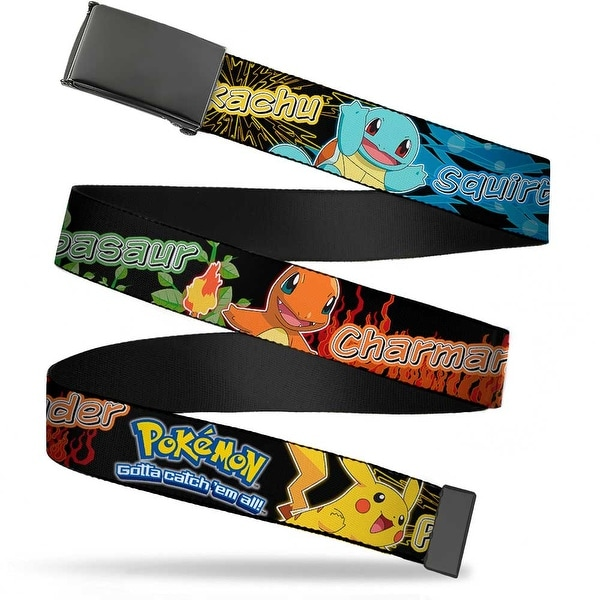 Blank Black Buckle Pokemon Pikachu & Kanto Starter Pokemon Type Black Web Belt