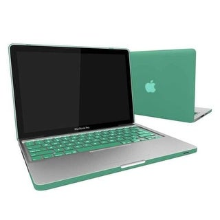Rubber Coated Hard Case Cover With Keyboard Skin for MacBook Air 13-Inch (Model : A1369 and A1466) - Ocean Green