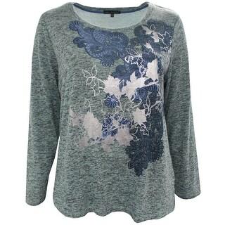 Women Plus Size Long Sleeve Floral Foil Design Knit Top Blouse Sweater Heather Aqua
