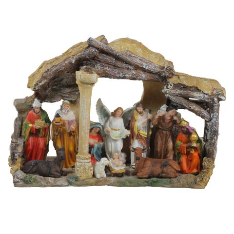 """18"""" Traditional Religious Christmas Nativity with Stable House Decoration ..."""