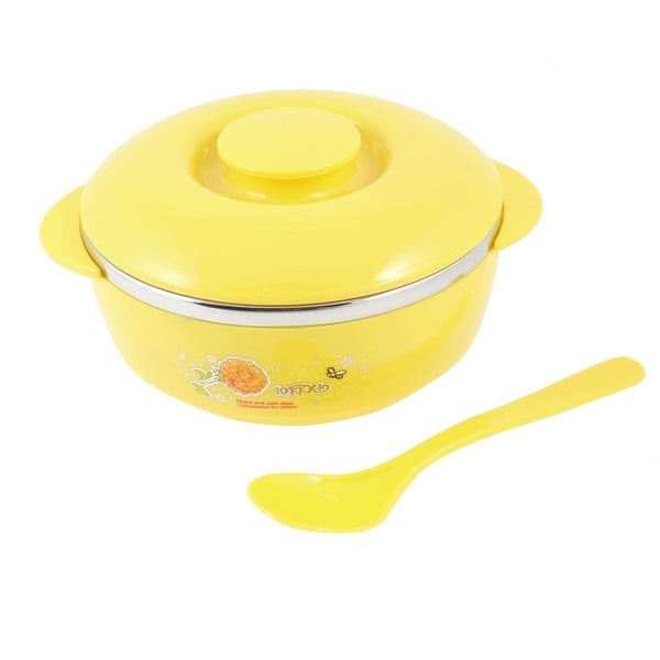 """Unique Bargains Yellow Silver Tone 4.9"""" Dia Flower Print Cereal Breakfast Rice Bowl w Spoon"""