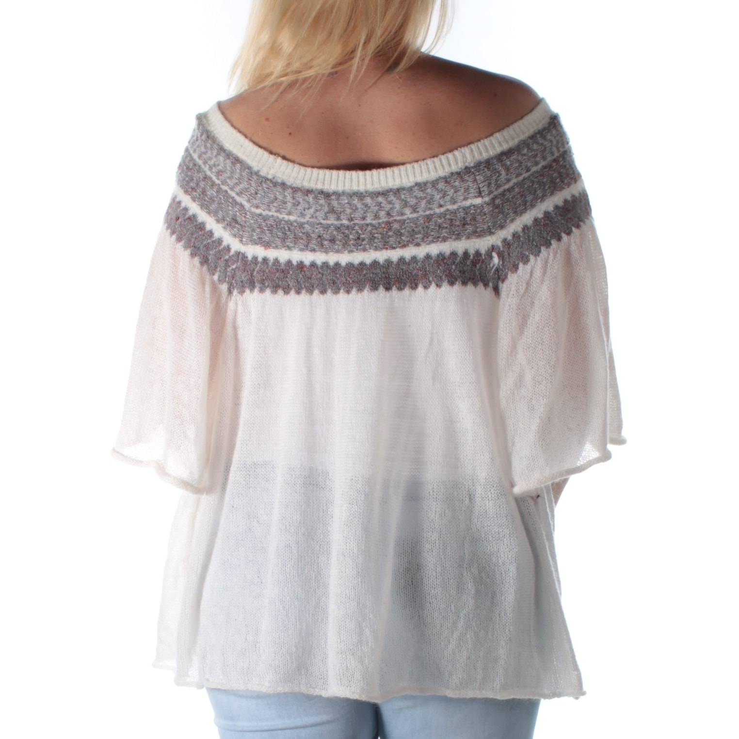 Shop Free People Womens Ivory Short Sleeve Off Shoulder Sweater Size S Free Shipping Today Overstock 22426510