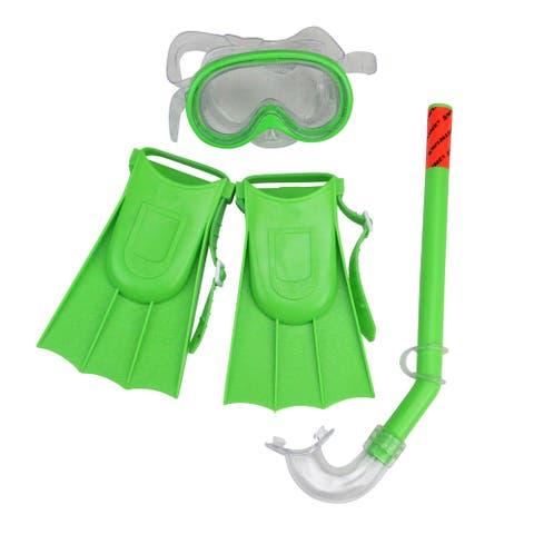 12.75 Green Otter Recreational Mask Snorkel and Fins Snorkeling Set