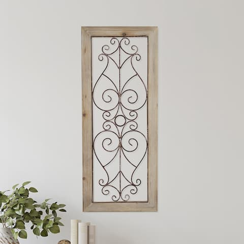 Hastings Home Metal and Wood Wall Hanging Panel