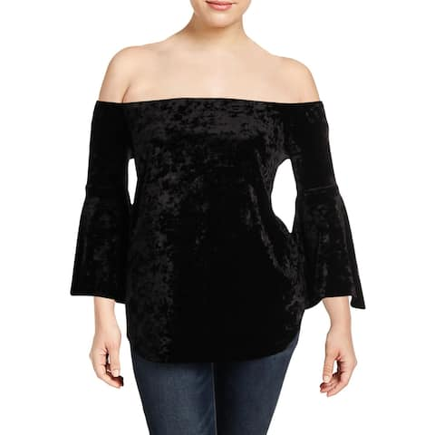 Love Ady Womens Plus Blouse Crushed Velvet Off-The-Shoulder - 2X