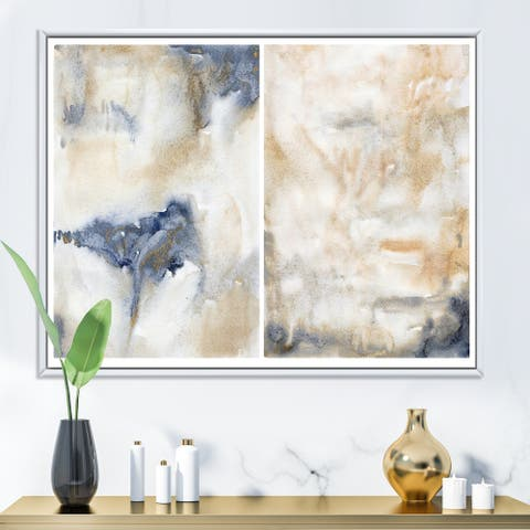 Designart 'Abstract Pink Gold Beige and Dark Pastel Strokes' Modern Framed Canvas Wall Art Print