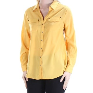 Womens Yellow Cuffed Collared Casual Button Up Top Size S