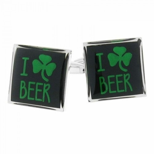 I Love Beer Irish Shamrock Clover St. Patrick's Day Cufflinks