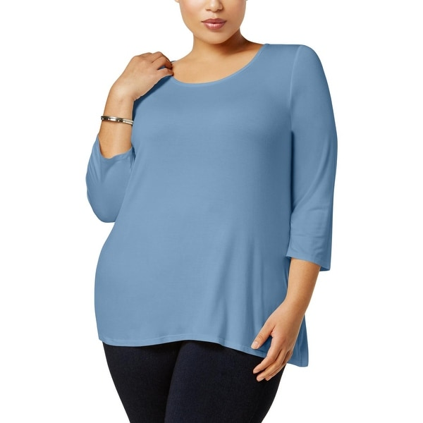 NY Collection Womens Plus Pullover Top 3/4 Sleeves Scoop Neck