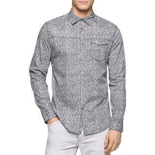 Calvin Klein Jeans Mens Big & Tall Button-Down Shirt Printed Long Sleeve