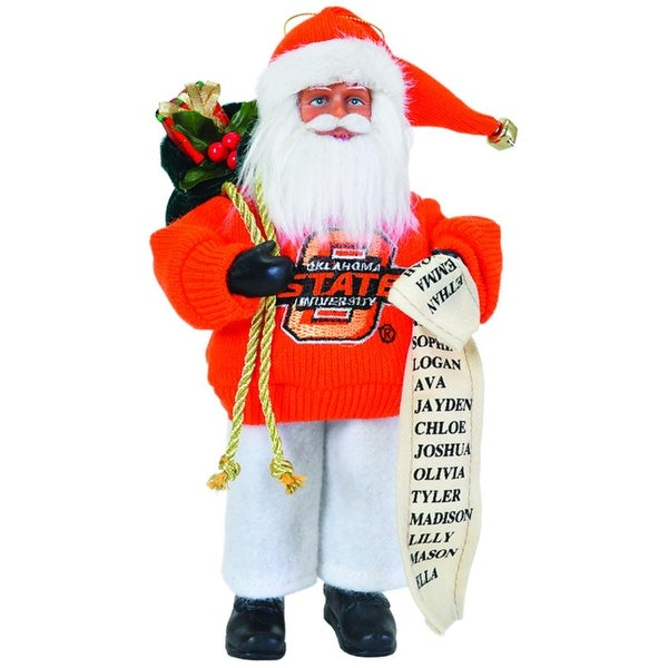 "9"" NCAA Oklahoma State Cowboys Santa Claus with Good List Christmas Ornament - ORANGE"