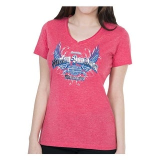 Harley-Davidson Women's Foil Printed Reflective Wings Short Sleeve Tee, Red