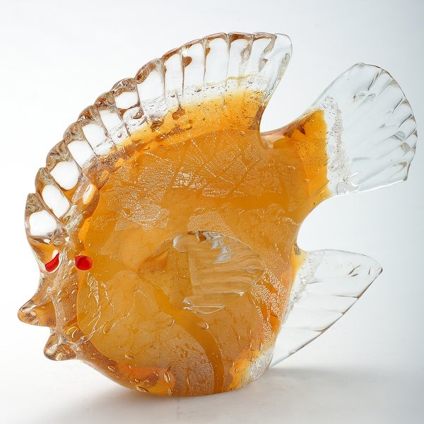 """6.5"""" Yellow and Clear Glass Fish Figurine Table Top Decoration - N/A"""
