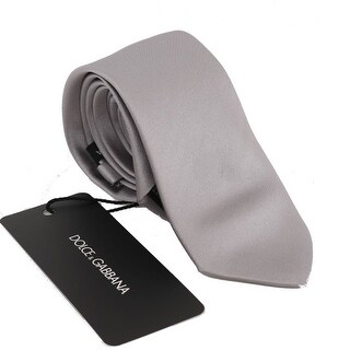 Dolce & Gabbana Silver Gray Solid Silk Tie - One size