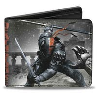 Deathstroke Arkham Origins Action Pose Snow Grays Red Bi Fold Wallet - One Size Fits most