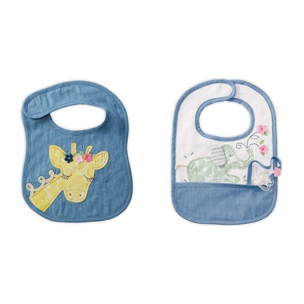 Sweet Yellow Giraffe and Green Elephant Baby Toddler Cloth Bibs Set of 2
