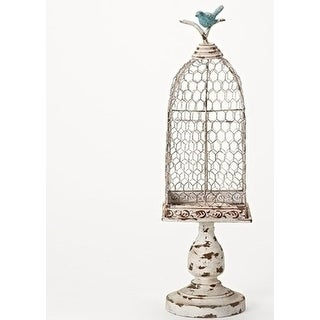 "Antique White Bird Cage Stand 22.75""H - Blue"