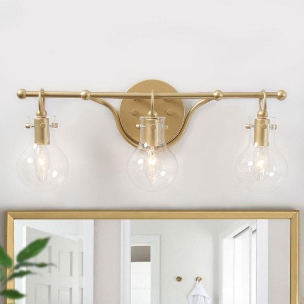 "Modern Gold 3-light Bathroom Vanity Lights Sconces for Powder Room - L20""x H8.5""x E6"". Opens flyout."