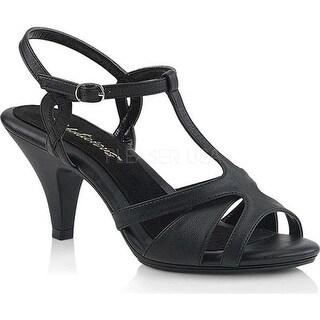 Fabulicious Women's Belle 322 T-Strap Sandal Black Faux Leather/Black Matte