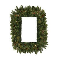 """36"""" Pre-Lit Camdon Fir Rectangular Artificial Christmas Wreath - Multi Lights - green"""