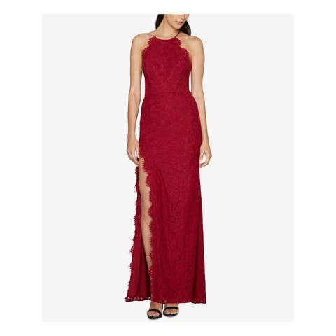 FAME AND PARTNERS Womens Maroon Lace Slitted Sleeveless Halter Full Length Sheath Formal Dress Size: 8