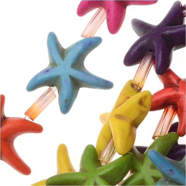 Dyed Magnesite Gemstone Beads, Starfish 14mm, 15 Inch Strand, Multi Color