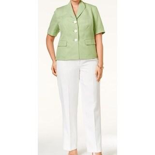 Le Suit NEW Green Women's Size 24W Plus Short Sleeve Pant Suit Set