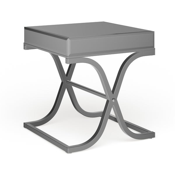 Silver Orchid Olivia Chrome Mirrored Side/ End Table. Opens flyout.