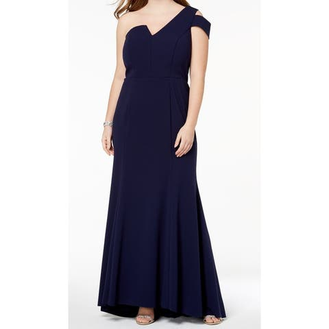 Betsy & Adam Womens Plus One Shoulder Gown Dress