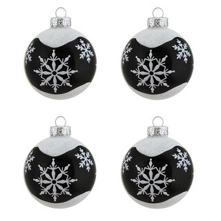 """4ct Alpine Chic Shiny Black with White Snowflake Design Glass Ball Christmas Ornaments 2.5"""" (65mm)"""