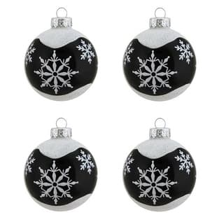 4ct Alpine Chic Shiny Black With White Snowflake Design Gl Ball Christmas Ornaments 2 5