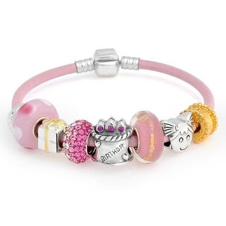 Bling Jewelry Sterling Silver Kids Birthday Present Enamel Glass Bead Charm Bracelet - Pink (Option: 7.5 Inch) https://ak1.ostkcdn.com/images/products/is/images/direct/1ec91c2d88cc9d75438c772958c9cae57e278e34/Bling-Jewelry-Sterling-Silver-Kids-Birthday-Present-Enamel-Glass-Bead-Charm-Bracelet.jpg?impolicy=medium