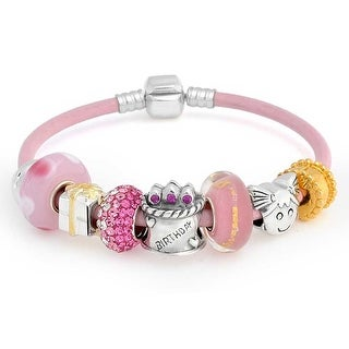 Bling Jewelry Sterling Silver Kids Birthday Present Enamel Glass Bead Charm Bracelet - Pink