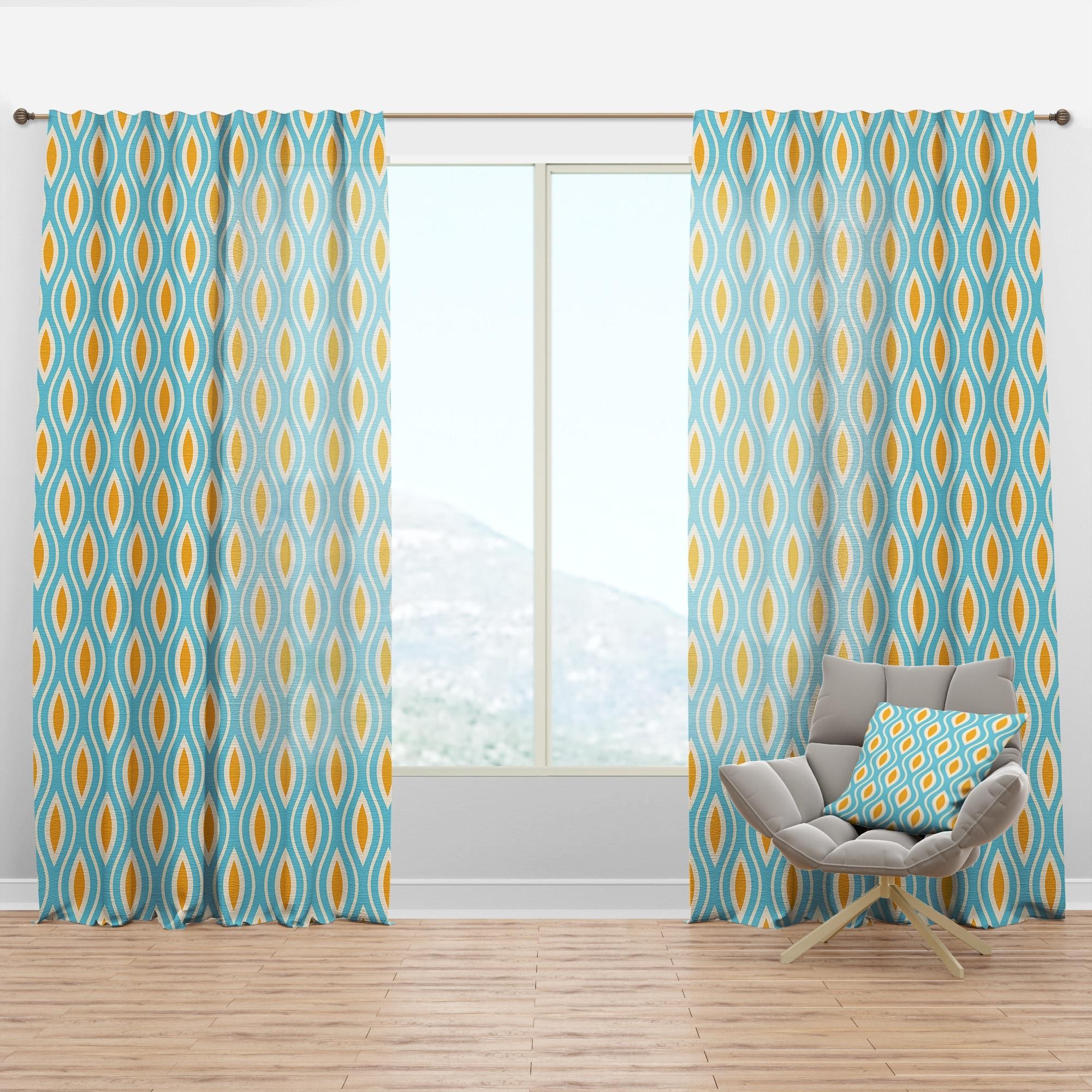 Image of: Shop Black Friday Deals On Designart Retro Pattern Abstract Design I Mid Century Modern Curtain Panel Overstock 29626071