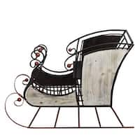 """36"""" Decorative Winter Forest Sleigh Christmas Display Figure - brown"""