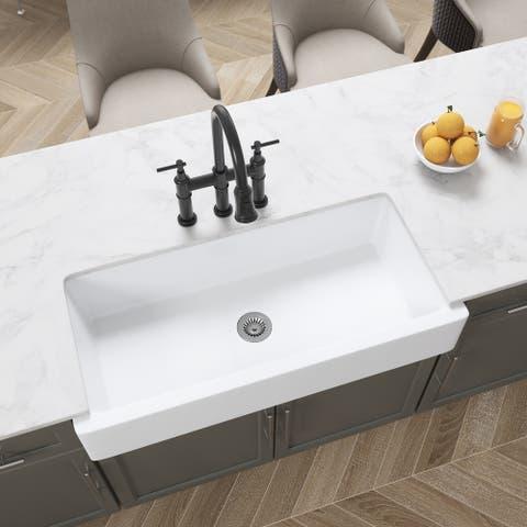 """37""""L x 19"""" White Kitchen Sink - 37*19*8in"""