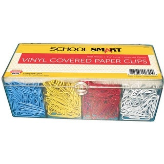 School Smart Metal Vinyl Coated Paper Clip, Standard, Assorted Color, Pack of 800