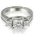 1.25 cttw. 14K White Gold Antique Three Stone Princess Diamond Engagement Ring - Thumbnail 0