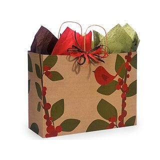 "Pack of 25, Vogue Red Bird Berries Recycled Paper Bags 16 X 6 X 12"" For Christmas Packaging, Made In Usa."