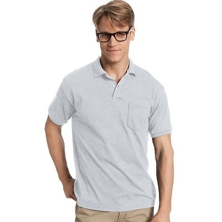Hanes Men's Cotton-Blend EcoSmart Jersey Polo with Pocket