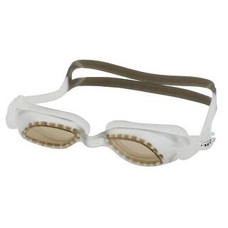 Unique Bargains Unique Bargains Adjustable Strap Plastic Frame Swimming Swim Goggles Light Brown w Pair Earplugs