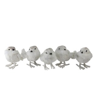 Set of 5 Natures Luxury Feather and Wire White Bird Christmas Figure Decorations 3.75