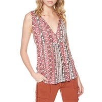 Sanctuary Pink Womens Small Nomad-Stripe Tie-Neck Tank Top
