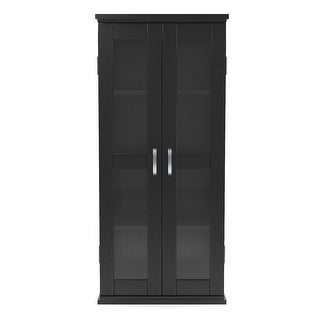 "Link to Ryan Rove Kirkwell 41"" Wood DVD Media Storage Tower - Black Similar Items in Horizontal Shelves"