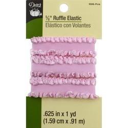 "Pink - Dritz Ruffle Elastic 5/8""X1yd"