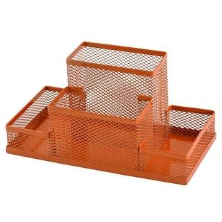 Metal Mesh 4 Compartments Desk Supplies Pen Storage Box Holder Organizer Orange