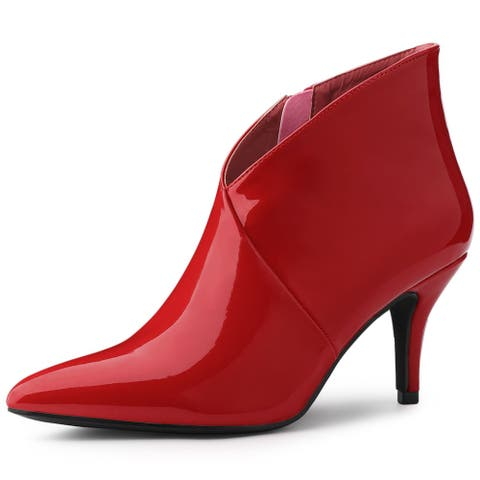 Women's Pointed Toe V Shape Stiletto Heels Ankle Boots